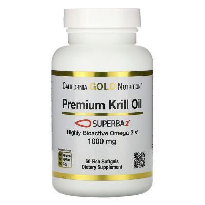 Масло криля премиального качества, SUPERBA2™, California Gold Nutrition, 1000 мг, 60 мягких таблеток