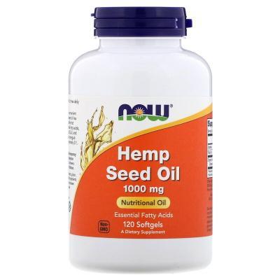 Масло семян конопли, Hemp Seed Oil, Now Foods, 1000 мг, 120 мягких таблеток