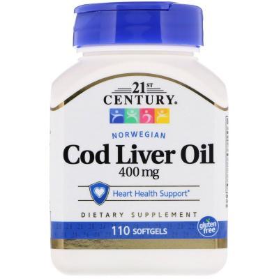 Рыбий жир из печени трески, 21st Century, 400 mg, 110 желатиновых капсул