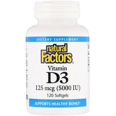 Витамин D3, Vitamin D3, Natural Factors, 125 мкг (5000 МЕ), 120 мягких капсул