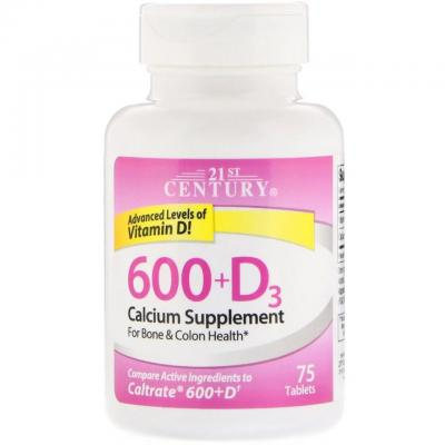 Кальций 600 + D, Calcium Supplement, 21st Century, 75 капсул