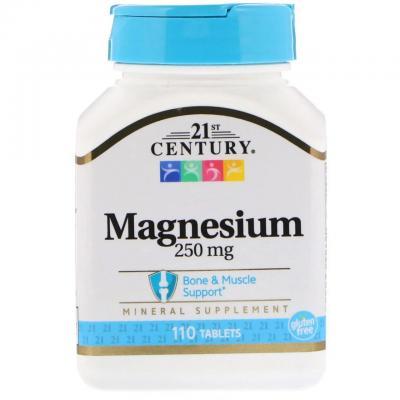 Магний оксид, Magnesium, 21st Century, 250 мг, 110 таблеток