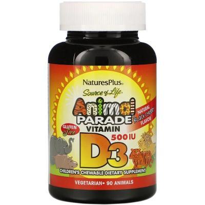 Витамин Д-3, Vitamin D 3, Nature's Plus, Animal Parade, вкус черной вишни, 500 МЕ, 90 жевательных конфет