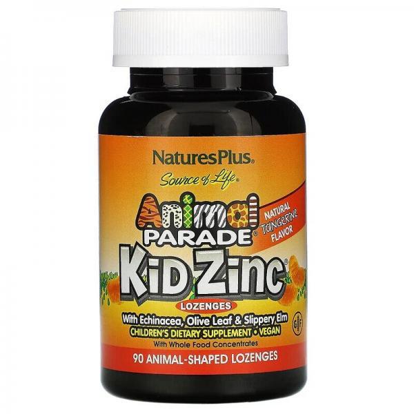 Цинк для детей, вкус мандарина, Kid Zinc, Animal Parade, Natures Plus, 90 леденцов