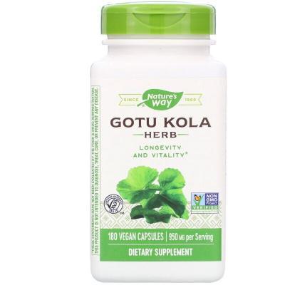 Центелла азиатская, Nature's Way, Gotu Kola Herb, 950 mg, 180 Vegan Capsules