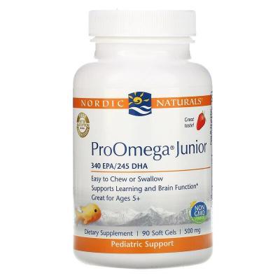 Омега для подростков, клубника, ProOmega Junior, Nordic Naturals, 500 мг, 90 капсул
