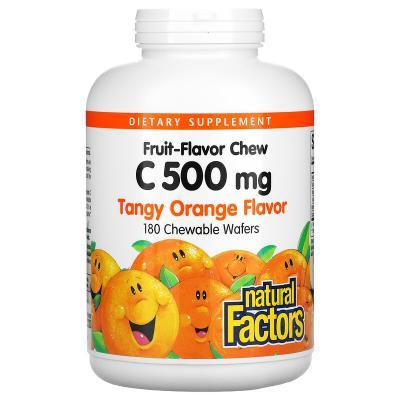 Витамин С, вкус апельсина, Natural Factors, 500 мг, 180 жевательных таблеток