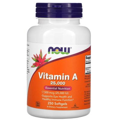 Витамин A, Vitamin A, Now Foods, 25000 МЕ, 250 капсул