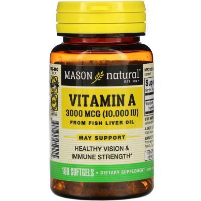Витамин A, Vitamin A, Mason Natural, 10000 ME, 100 капсул