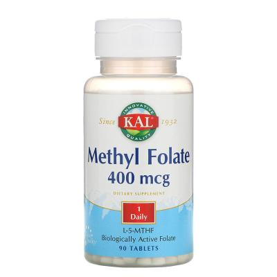 Метилфолат, Methyl Folate, Kal, 400 мкг, 90 таблеток