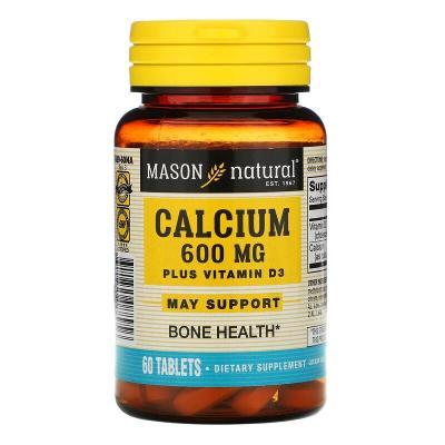 Кальций + Витамин Д3, Calcium Plus Vitamin D3, Mason Natural, 600 мг, 60 таблеток