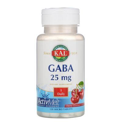 ГАМК (гамма-аминомасляная кислота), вишня, GABA, KAL, 25 мг, 120 таблеток