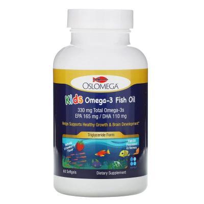 Омега-3 с натуральным клубничным вкусом, Omega-3 Norwegian Kids, Oslomega, 60 мягких капсул