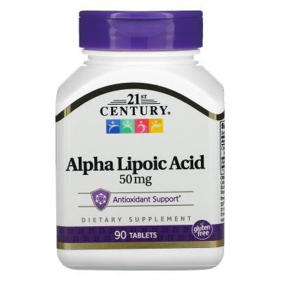 Альфа-липоевая кислота, Alpha Lipoic Acid, 21st Century, 50 мг, 90 таблеток