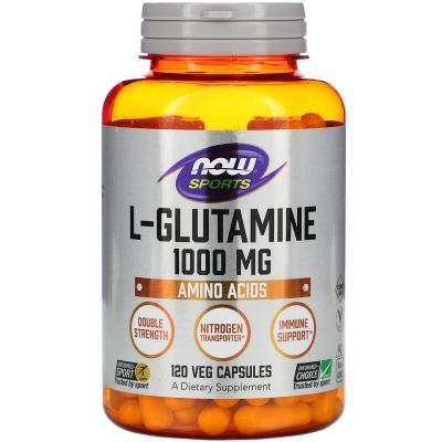 L-глутамин, L-Glutamine, Now Foods, 1000 мг, 120 капсул