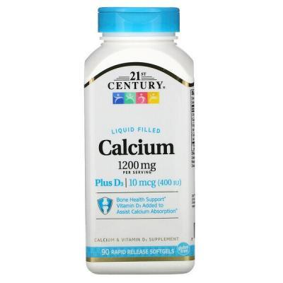 Кальций 1200 мг + Д3, Calcium + D3, 21st Century, жидкий наполнитель, 90 капсул