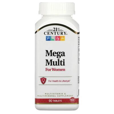 Mega Multi, для женщин, мультивитамины и мультиминералы, 21st Century, 90 таблеток