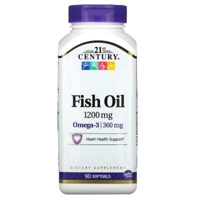 Рыбий жир, Fish Oil, 21st Century, 1200 мг, 90 капсул