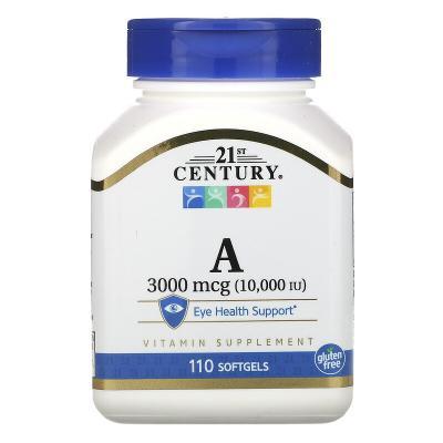 Витамин A, Vitamin A, 21st Century, 10,000 МЕ, 110 капсул