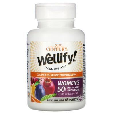Мультивитамины и мультиминералы для женщин 50+, Women's 50+ Multivitamin Multimineral, Wellify, 21st Century, 65 таблеток