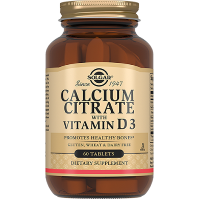 Цитрат Кальция + Витамин  D3, Calcium Citrate with Vitamin D3, Solgar, 60 таблеток