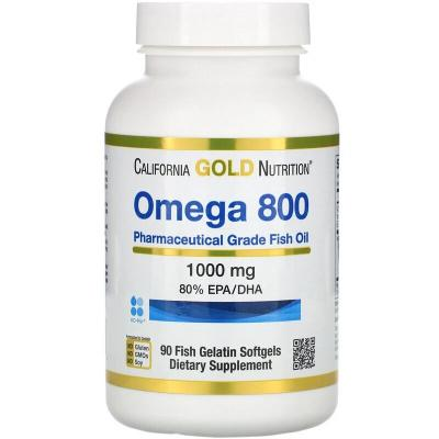 Омега 800 рыбий жир, Omega 800, California Gold Nutrition, 80% EPA/DHA, 1000 мг, 90 капсул