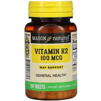 Витамин K2, Vitamin K2, Mason Natural, 100 мкг, 100 таблеток