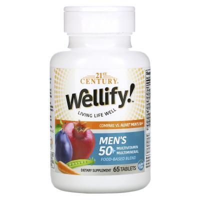 Мультивитамины и мультиминералы для мужчин 50+, Men's 50+ Multivitamin Multimineral, Wellify, 21st Century, 65 таблеток
