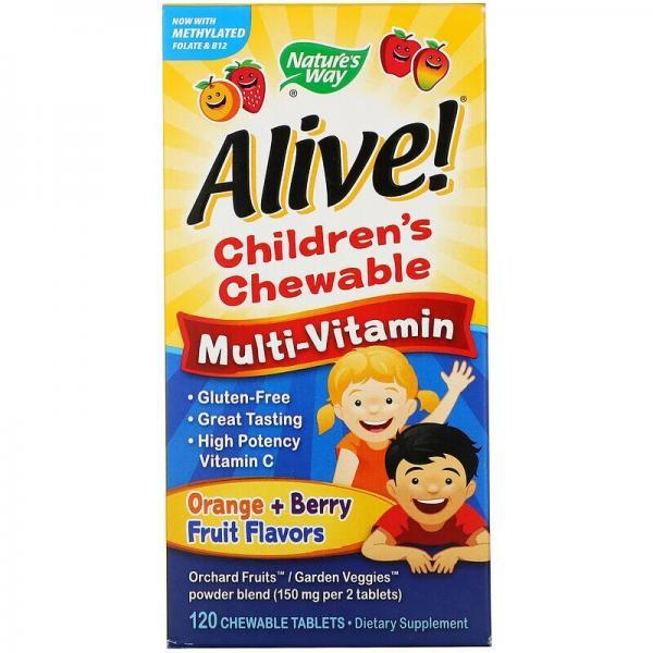 Детский жевательный мультивитамин, вкус апельсина и ягод, Alive! Nature's Way, 120 жевательных таблеток