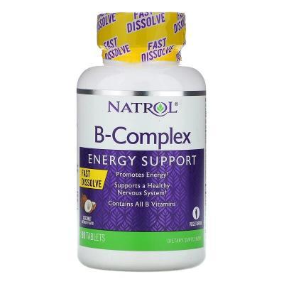 Комплекс витаминов группы B, быстрорастворимые, натуральный кокосовый вкус, B-Complex, Natrol, 90 таблеток