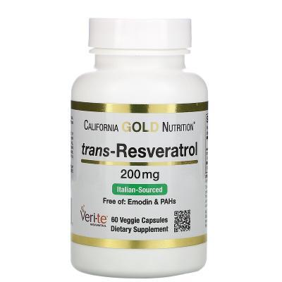 Транс-ресвератрол, Trans-Resveratrol, California Gold Nutrition, 200 мг, 60 вегетарианских капсул