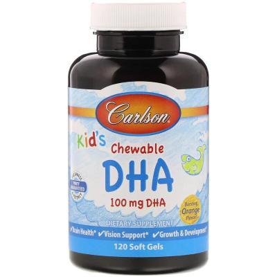 Жевательная ДГК для детей, вкус апельсина, Carlson Labs, 100 мг, 120 мягких желатиновых капсул