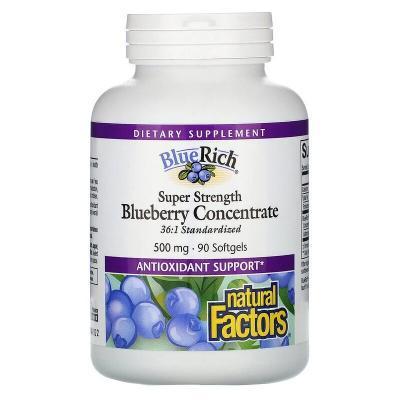 Концентрат черники, Super Strength, Blueberry Concentrate, Natural Factors, BlueRich, 500 мг, 90 мягких таблеток