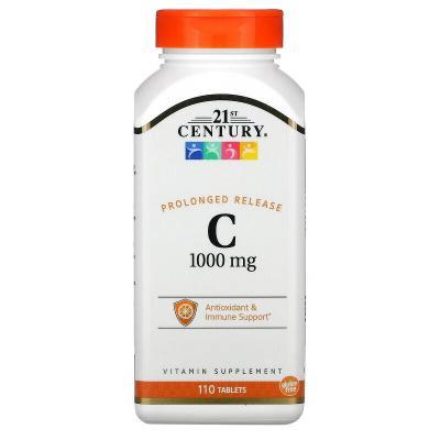 Витамин С, длительное высвобождение,  21st Century, 1000 мг, 110 таблеток