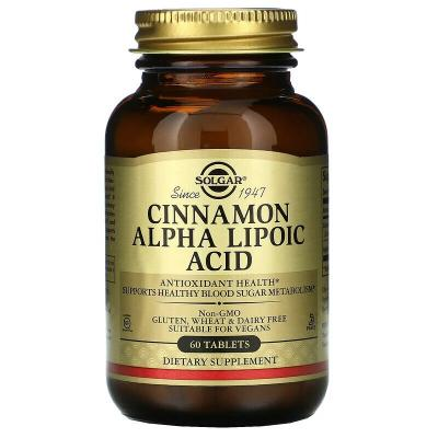 Альфа-липоевая кислота и корица, Cinnamon Alpha-Lipoic Acid, Solgar, 60 таблеток