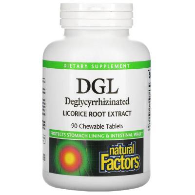 Глицирризинат корня солодки, DGL, Natural Factors, 90 жевательных таблеток