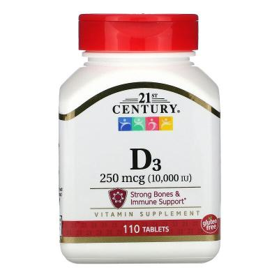 Витамин D3, Vitamin D3, 21st Century, 250 мкг (10000 МЕ), 110 таблеток