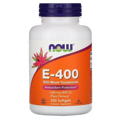Витамин E-400 со смешанными токоферолами, Vitamin E, Now Foods, 268 мг (400 МЕ), 250 капсул