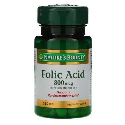 Фолиевая кислота, Folic Acid, Nature's Bounty, 800 мкг, 250 таблеток