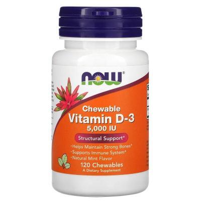 Витамин Д3, мятный вкус, Vitamin D-3, Now Foods, 5000 МЕ, 120 жевательных таблеток