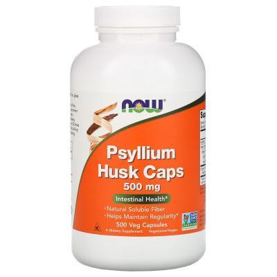 Шелуха семян подорожника в капсулах, Psyllium Husk, Now Foods, 500 мг, 500 вегетарианских капсул