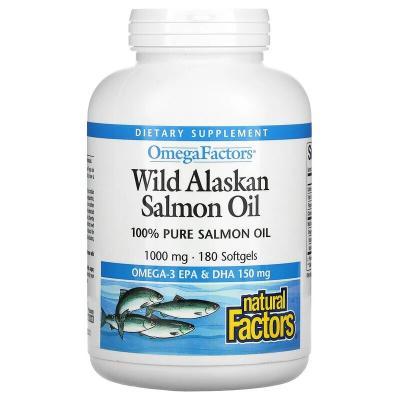 Жир дикого аляскинского лосося, Wild Alaskan Salmon Oil, Natural Factors, Omega Factors, 1000 мг, 180 мягких таблеток