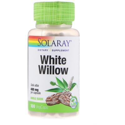 Белая ива, White Willow Bark, Solaray, 400 мг, 100 капсул