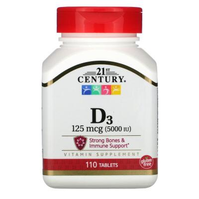 Витамин D3, Vitamin D3, 21st Century, 125 мкг (5000 МЕ), 110 таблеток
