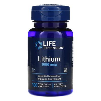 Литий, Lithium, Life Extension, 1000 мкг, 100 вегетарианских капсул