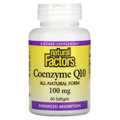 Коэнзим Q10, Coenzyme Q10, Natural Factors, 100 мг, 60 мягких таблеток