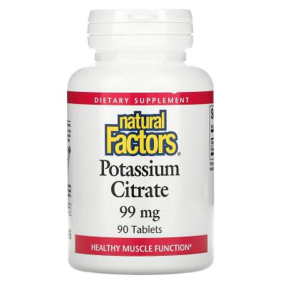 Калий, Potassium Citrate, Natural Factors, 99 мг, 90 таблеток