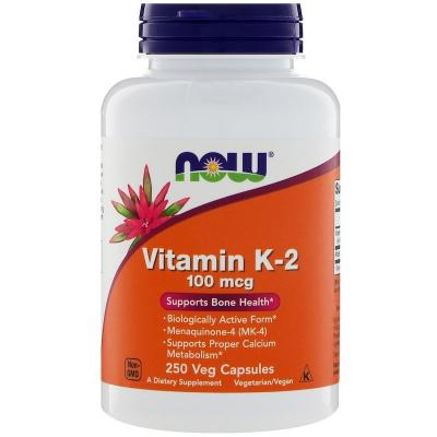 Витамин К-2, Vitamin K-2, Now Foods, 100 мкг, 250 капсул