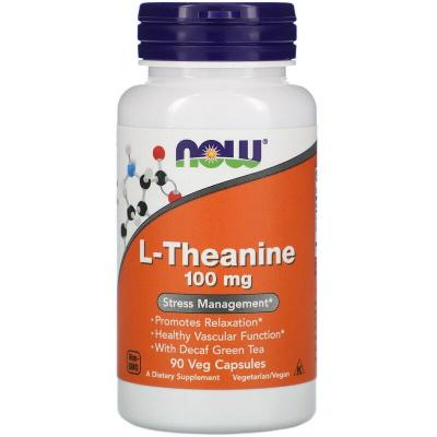Теанин, L-Theanine, Now Foods, 100 мг, 90 капсул