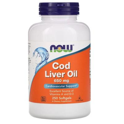 Рыбий жир из печени трески, Cod Liver Oil, Now Foods, 650 мг, 250 капсул